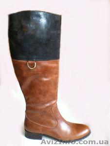 Элегантные коричневые сапоги женские кожаные на низком каблуке. Приятные цены. - Изображение #1, Объявление #1176560